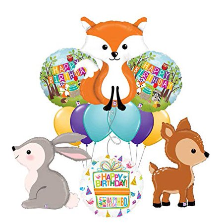 Mayflower Products Woodland Creatures Birthday Party Supplies Fox and Friends Balloon Bouquet Decorations