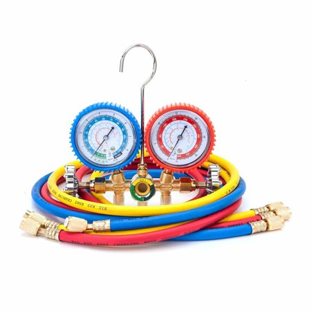 R134 R12 R22 R502 Dual Manifold Gauges Valve Set Red & Yellow & Blue & Black & - Side Wheel Manifold Set