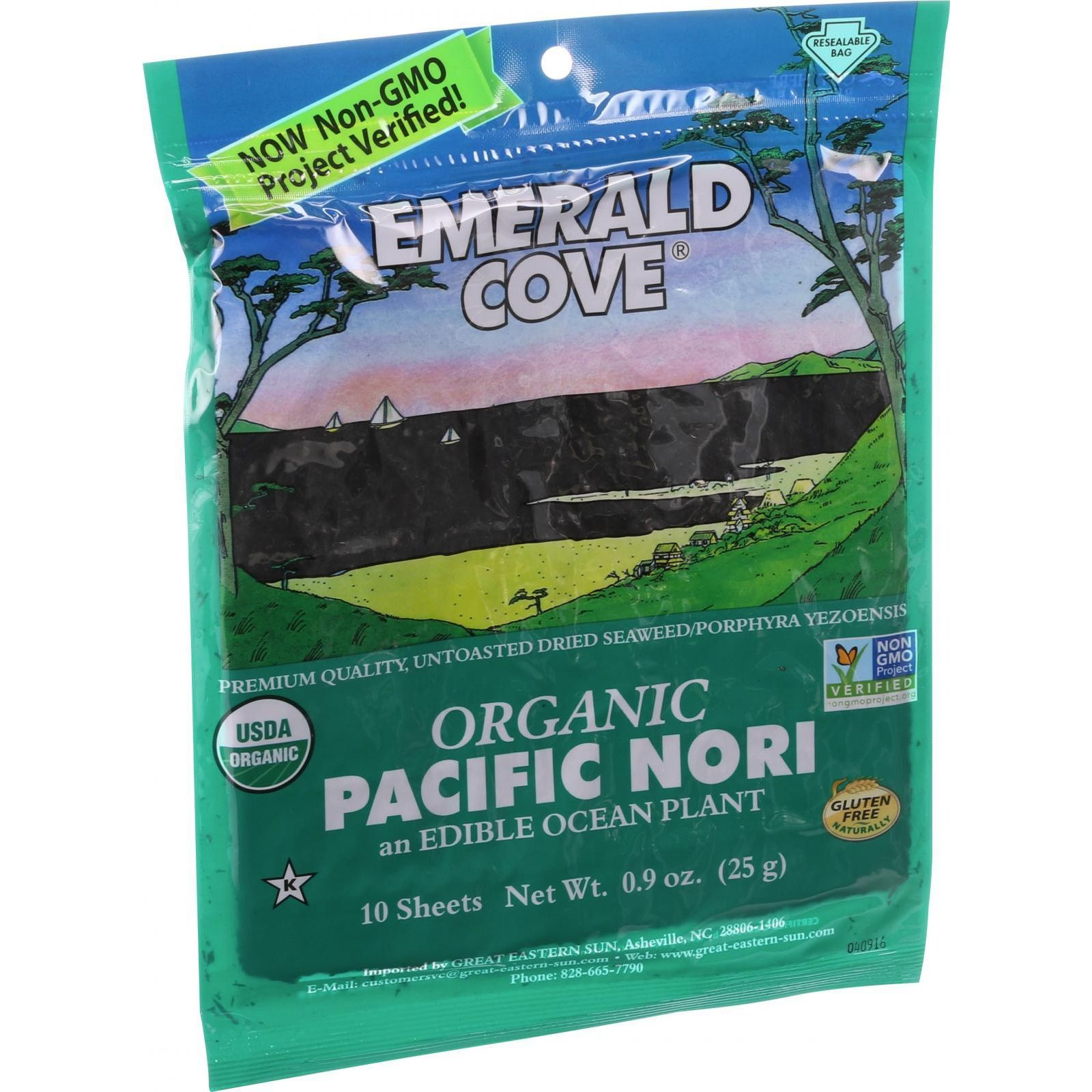 Emerald Cove Organic Pacific Nori Untoasted Hoshi Silver Grade .9 oz Case of 6 by