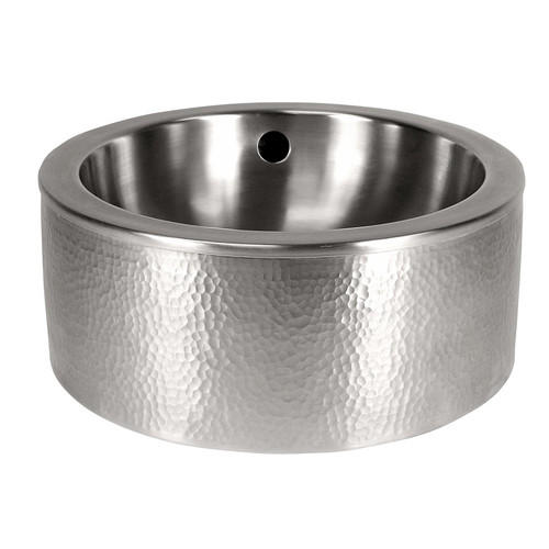The Copper Factory Round Vessel Bathroom Sink with Apron