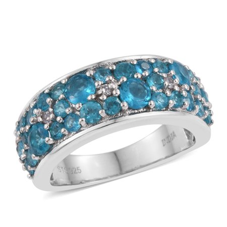 - 925 Sterling Silver Round Neon Apatite Band Ring for Women Cttw 2.3