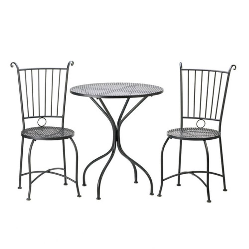 Zingz and Thingz 3 Piece Patio Bistro Set in Black