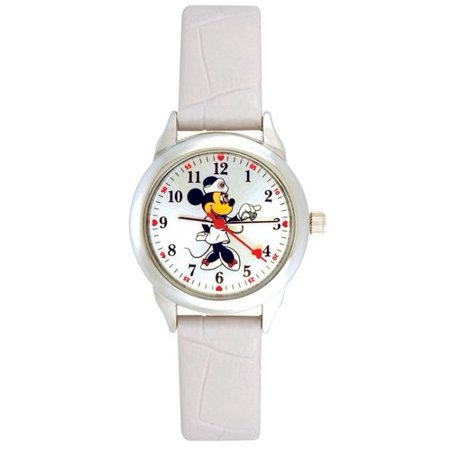 Minnie Mouse Women's Round Imitation Silver and White Watch, Faux Leather Strap