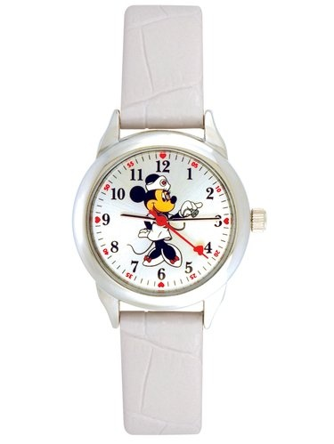 Disney Minnie Mouse Women's Round Imitation Silver and White Watch, Faux Leather Strap