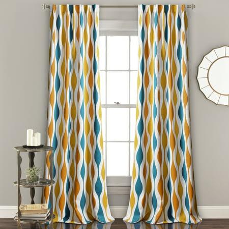 Mid Century Geo Room Darkening Window Curtain Panels Turquoise/Orange 52X84 (Mid Profile 6 Panel)