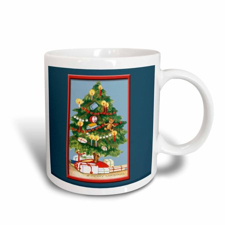 3dRose Vintage Christmas Tree decorated with Candles Framed in Red on a Dark Blue Background, Ceramic Mug, 15-ounce