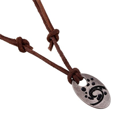 Qiilu Fashionable Men Cowhide Alloy Pendant Long Necklace Handmade Male Jewelry,Necklace, Handmade Necklace - image 1 of 1