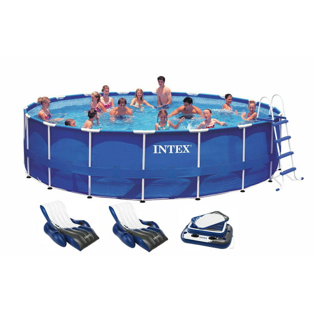 Intex 18ft X 48in Metal Frame Above Ground Round Family Swimming Pool Set Pump Walmart Com Walmart Com