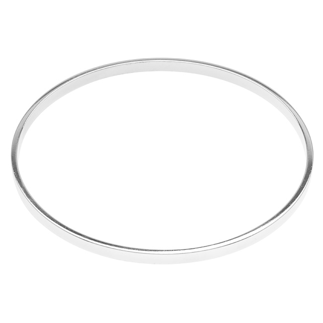 Nunn Design Silver Plated Round Bangle Bracelet - 2 3/4 Inch  (1)