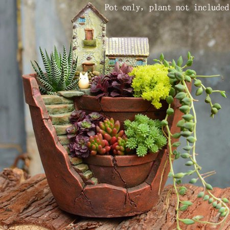 Sky Garden Planter Herb Flower Cactus Succulent Plant Resin Pot Box Container ()