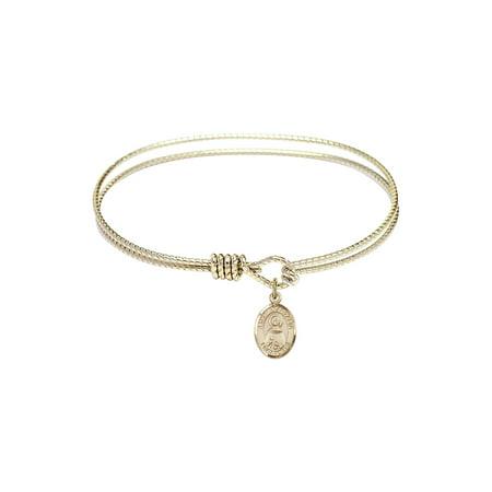 7 1/4 inch Oval Eye Hook Bangle Bracelet w/ St. Anastasia in -