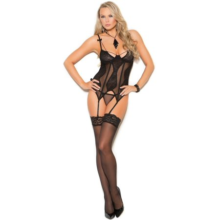 Elegant Moments EM-4306 Mesh and lace bustier with underwire cups Black / (48k Cup)