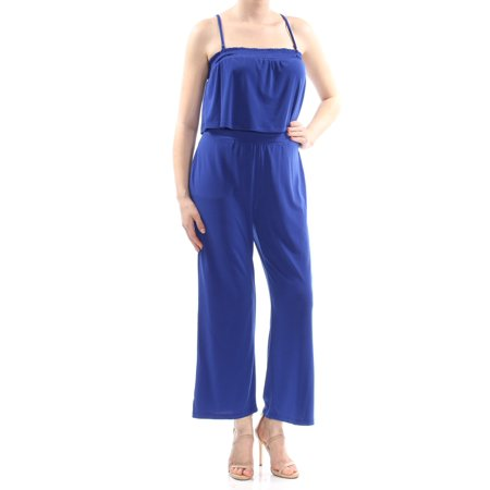 Spaghetti Strap Pull (INC Womens Blue Pocketed Pull On Style Spaghetti Strap Square Neck Tank Wide Leg Evening Jumpsuit Petites  Size:)