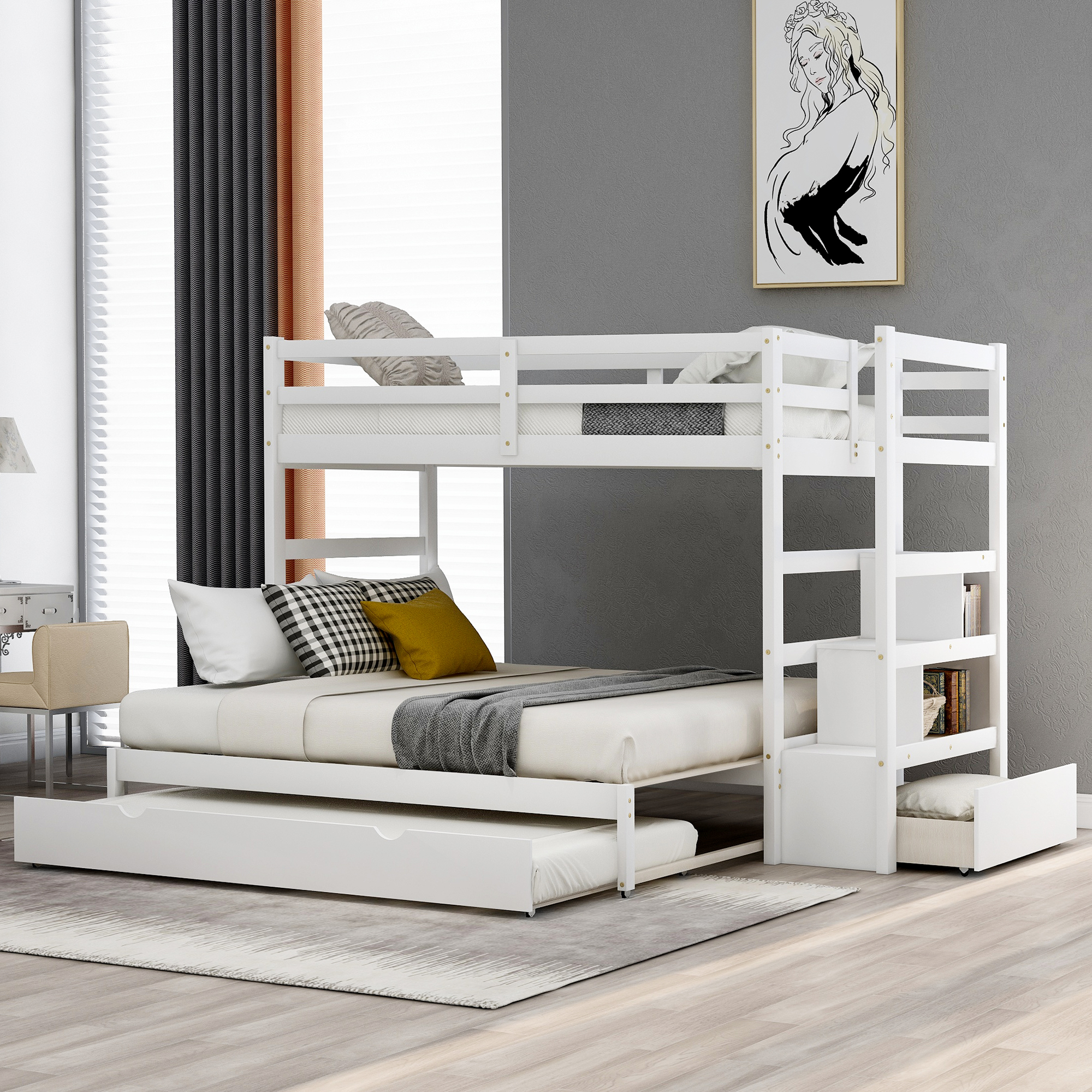 Picture of: Twin Over Twin Bunk Bed Wooden Kids Twin Bunk Bed Frame With Trundle Stairway Twin Size Triple Bunk Bed W Storage Drawers Storage Trundle Bed Frame For Kid S Room No Box Spring Needed White A761