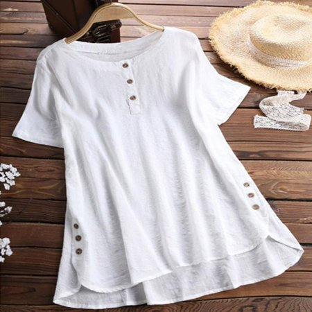 Womens Summer Retro O Neck Short Sleeve Blouses Loose Baggy Tops Tunic T Shirts Plus (Ladies Tunic T-shirt Tee)