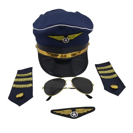 Cheap Pilot Costume (Pilot Captain Navy Hat Sunglasses Badge Epaulets Adult Costume Accessory)