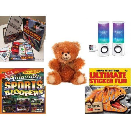 Children's Gift Bundle [5 Piece] -  Race Cards Stock Car Racing Card  - Merkury HUE Universal Dancing-LED Speakers - Fuzzy Friends Teddy Bears  Soft 10