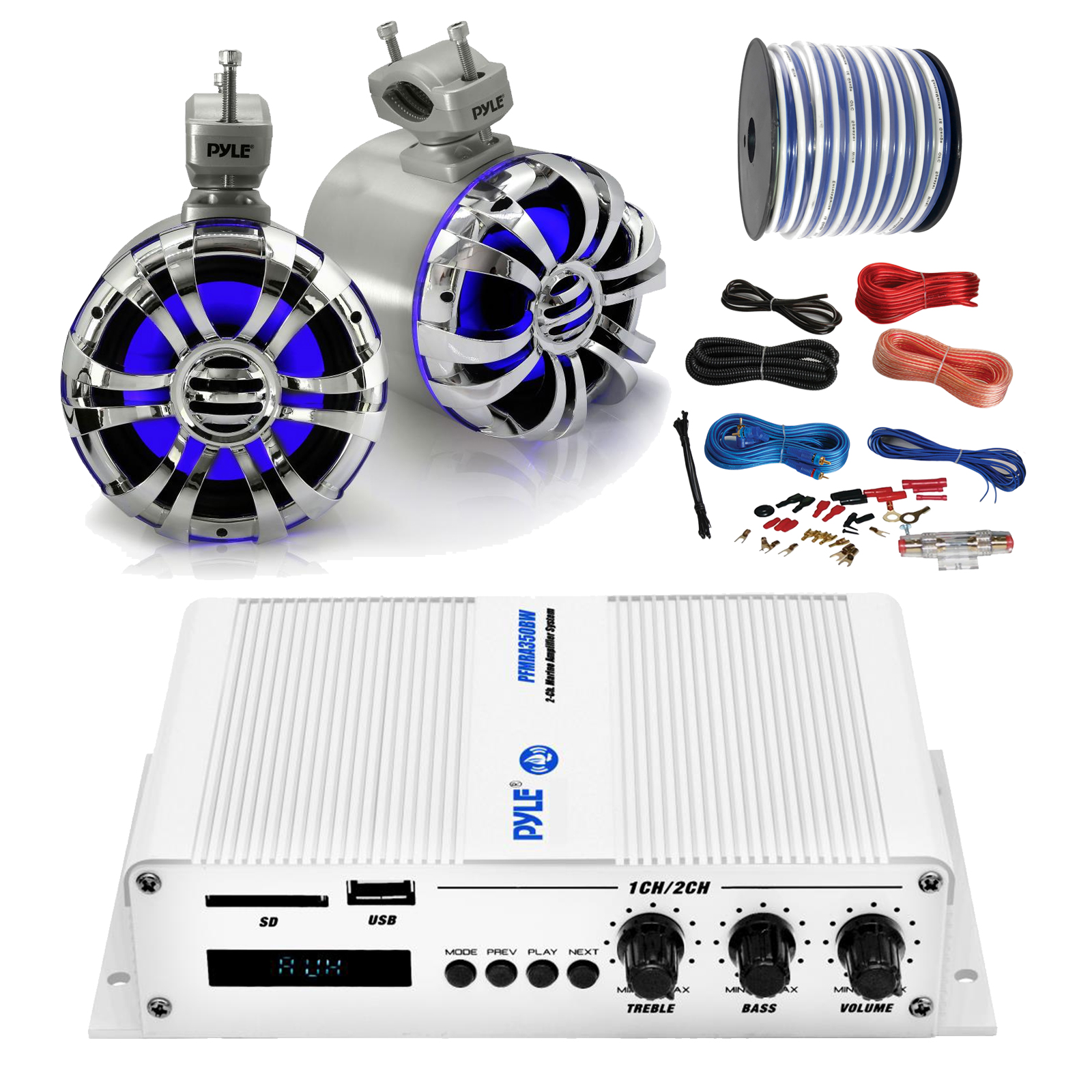 """Pyle Marine PFMRA350BW 2-Channel Bluetooth White Amplifier, Pyle 5.25"""" Wakeboard Waterproof IP44 Rated Tower Silver LED Speakers (Pair), Amp Install Kit, 18-G 50 Ft Speaker Wire"""