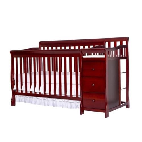 Dream On Me Brody 5-in-1 Convertible Crib with Changer in Cherry