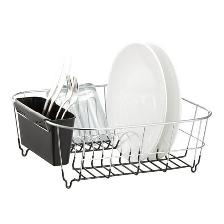 Neat o chrome plated steel small black dish drainer drying rack - Dish racks for small spaces set ...