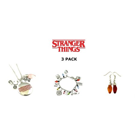 3 Pack Stranger Things Themed Charms Bracelet + Pendent Necklaces + Earrings Eleven (Necklace Bracelet Pierced Earring)