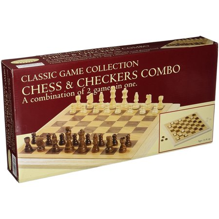 Deluxe Staunton Wood Chess And Checkers Set, Hand-crafted wood board. Heavy weighted & felted, natural & walnut finished. King: Height 3 -.., By John N Hansen from USA Deluxe Staunton Chess Set
