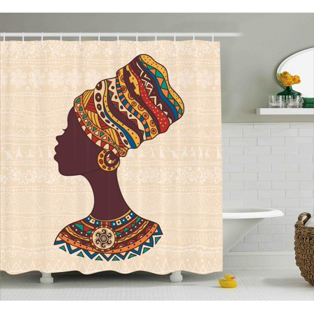 Tribal Decor Shower Curtain, African Woman in Traditional Ethnic Fashion Dress Portrait Glamour Graphic , Fabric Bathroom Set with Hooks, 69W X 70L Inches, Cream Brown, by Ambesonne (Glamour Shower Curtain Set)