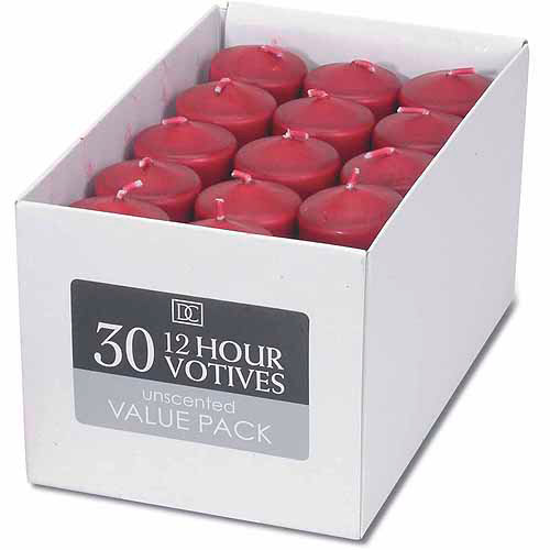 "Darice Unscented 12 Hour Votive Candles, 1.3"" x 1.8"", 30/pkg, Red"