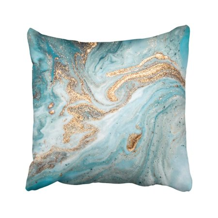 ARTJIA Marble Eastern Technique Ebru Contemporary Golden And Turquoise Mixed Acrylic Paints Pillowcase Pillow Cover 18x18 inches