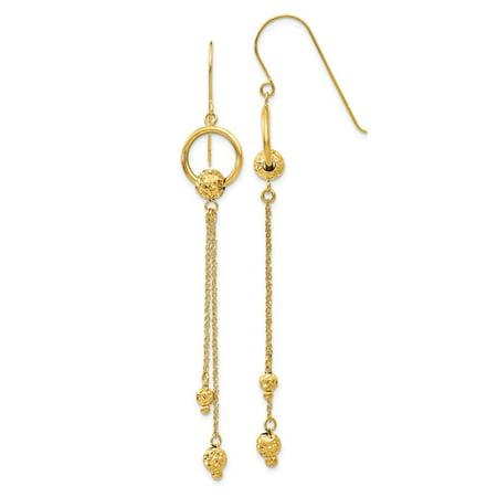 Roy Rose Jewelry 14K Yellow Gold Diamond Cut Dangle Shepherd Hook Earrings Cut Dangle Yellow Gold Earrings