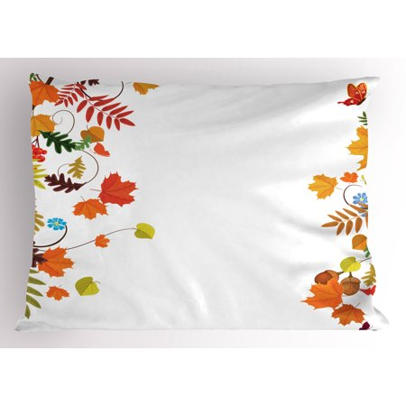 Harvest Pillow Sham Colorful Seasonal Maple Aspen Leaves Frame Fall Foliage Environment Nuts Butterfly, Decorative Standard Size Printed Pillowcase, 26 X 20 Inches, Multicolor, by Ambesonne