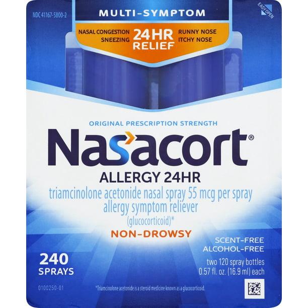 Nasacort Multi-Symptom 24hr Nasal Allergy Relief Spray, 120 Sprays Twin Pack