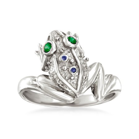 Ross-Simons Sterling Silver Frog Ring With Multi-Gemstone Accents