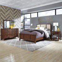 Bungalow Queen Bed, Nightstand and Dresser with Mirror
