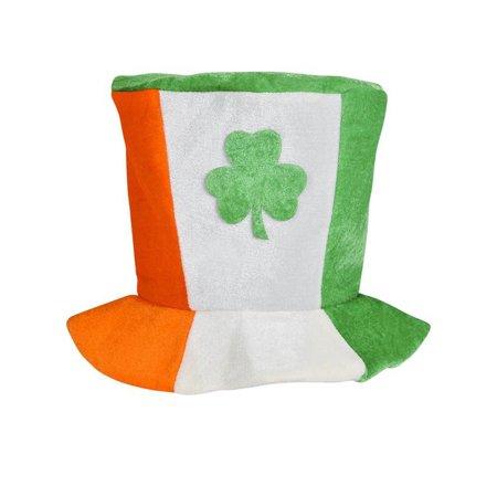 Irish Top Hat (Saint Patrick's Day Plush Irish Flag Top Hat With Shamrock Costume)