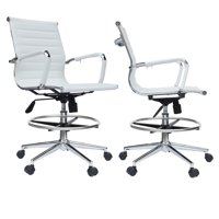 2xhome Set of 2 Office Chair Ribbed Mid Back With Wheels And Arms For Home Office Conference Room Tilt Ribbed Adjustable Height Chrome Swivel with Chrome Foot Rest White