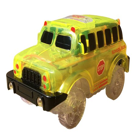 Electronics LED Car for Magic Track Toys with Flashing Lights Educational Plastic Fun Gift Color:school bus](Plastic Cars)