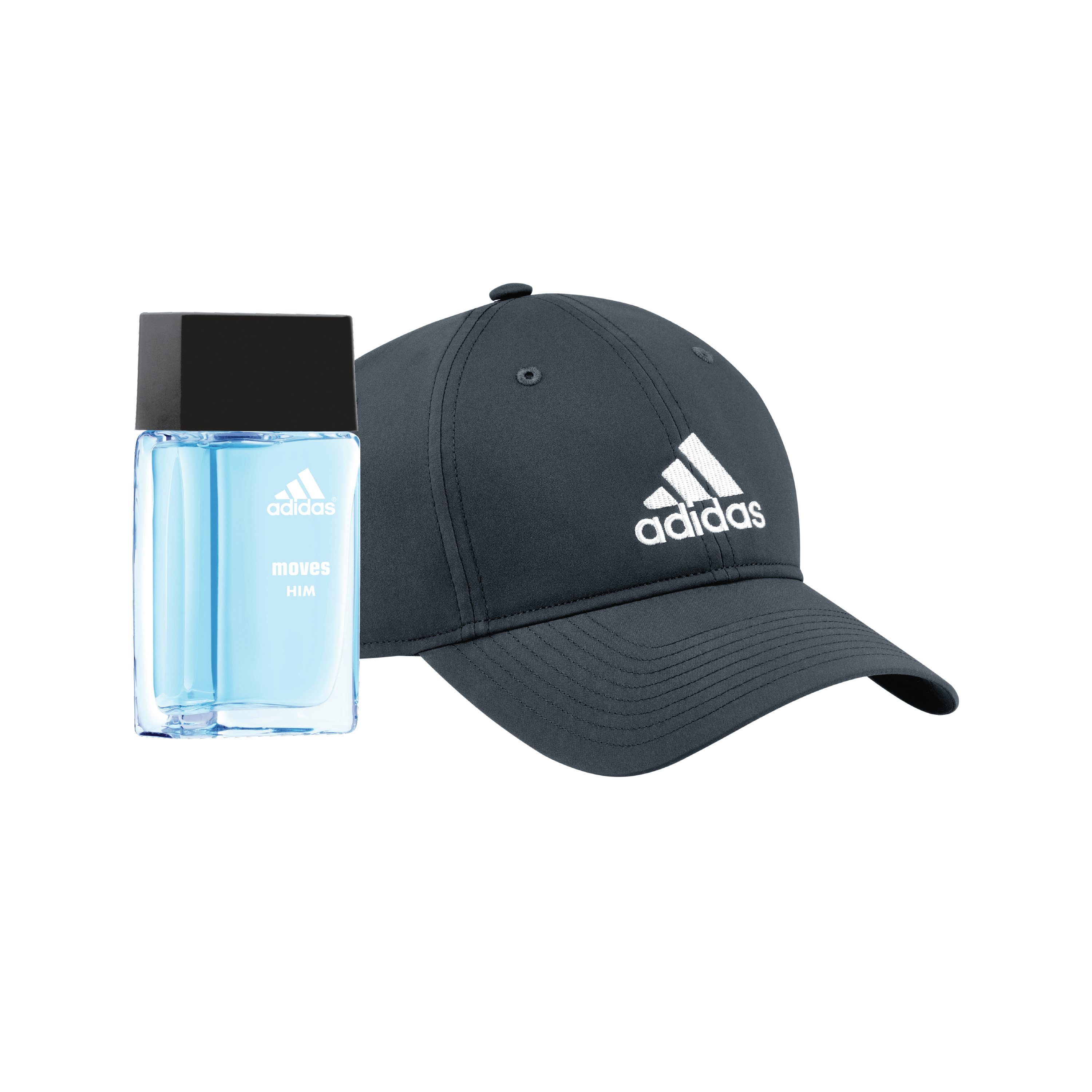 brand new c4c2d 9dfaf Adidas Moves for Him Eau de Toilette Fragrance   Adidas Hat, Holiday Gift  Set for Men, 2 pc