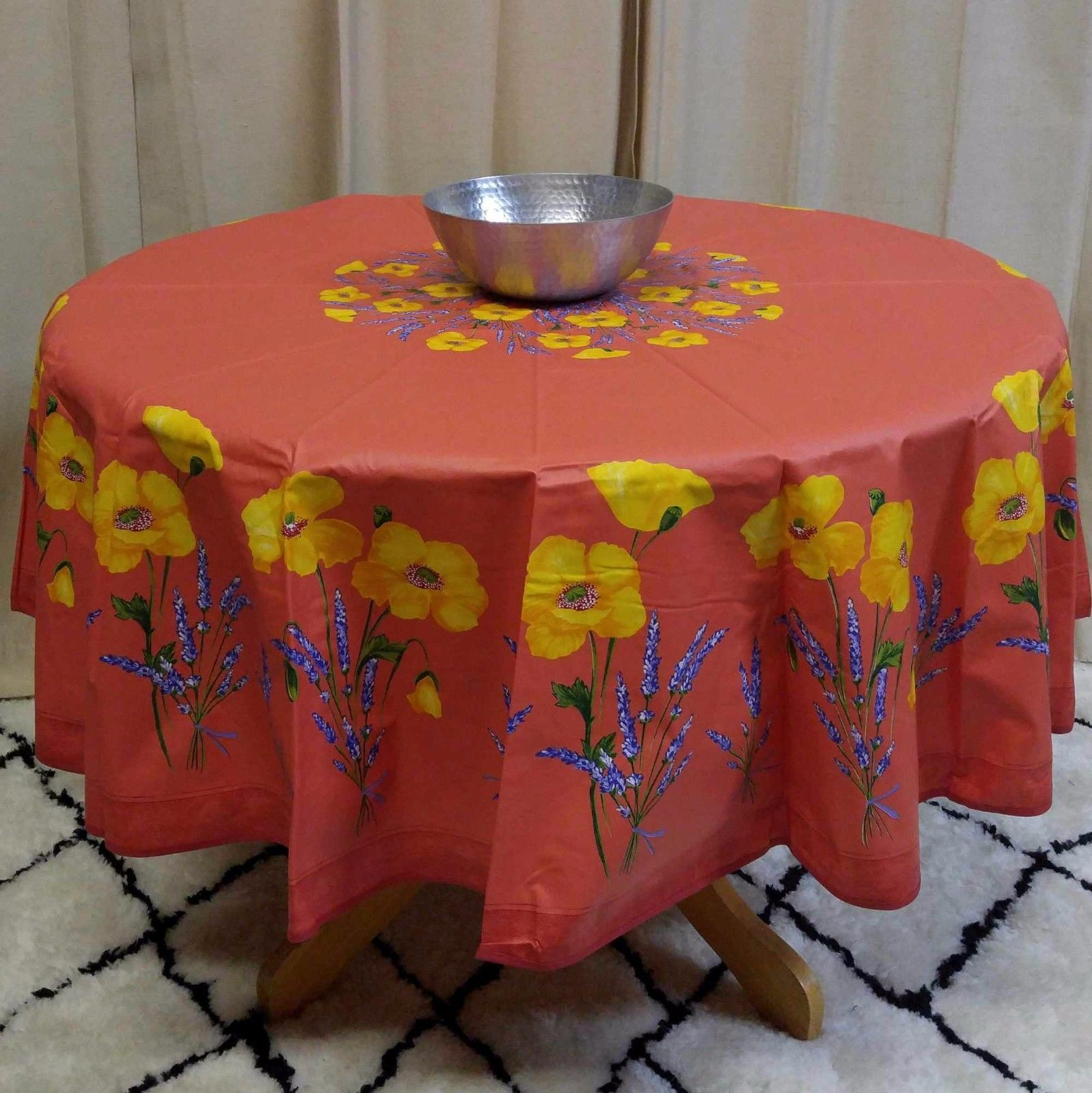 French Provencal Floral Poppy Tablecloth Round Acrylic Coated 100% Cotton  (71 Inches, Salmon Peach)