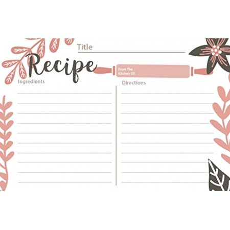 """Pink Baker - Recipe Cards Size 4"""" x 6"""" double sided - 50 Cards"""