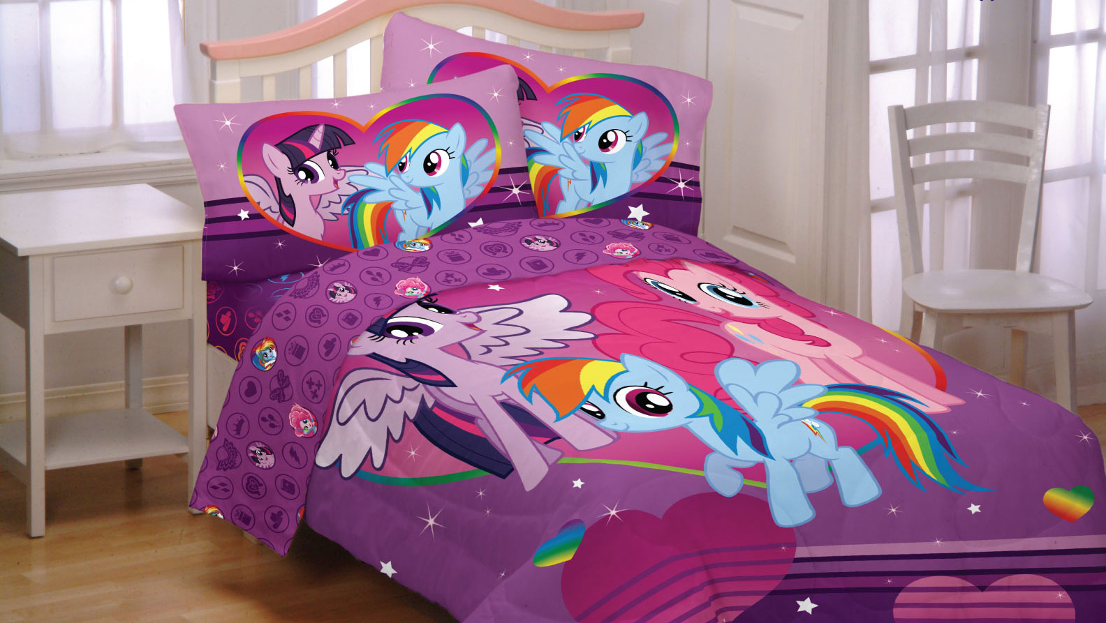 3pc My Little Pony Twin Sheet Set Equestria Girls Rainbow Mania Bedding  Accessories   Walmart.com