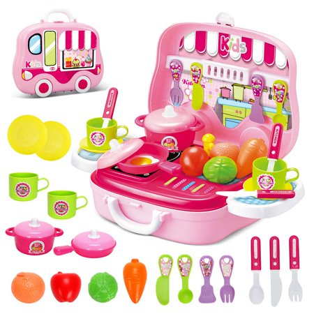 Toy Kids Pretend Role Play Kitchen Playset Gift for Children 3 Years Old Cooking Kit Food Pink