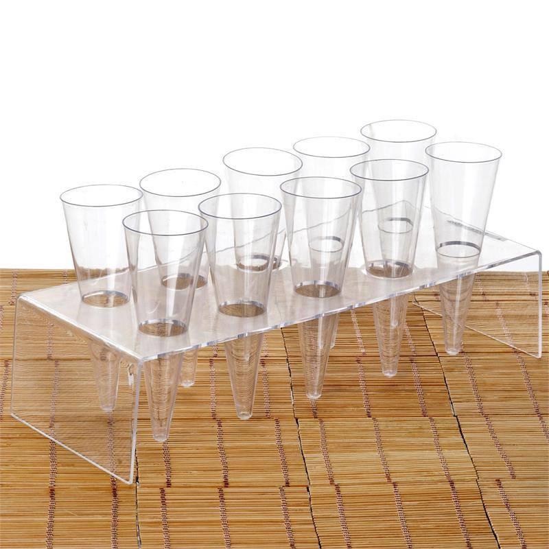 BalsaCircle Clear 20 pcs 3.5 oz Disposable Plastic Cones Cups and 2 Display Trays - Disposable Wedding Party Catering Tableware