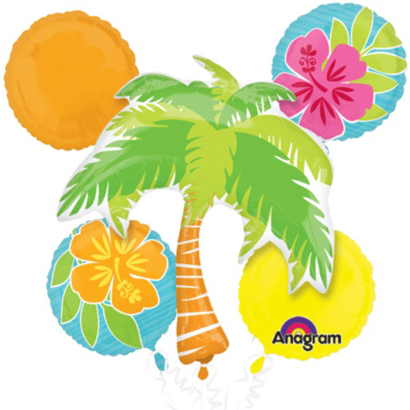 Hawaiian Tropical Island Luau Party Palm Tree Hibiscus Flower 5pc Balloon Pack
