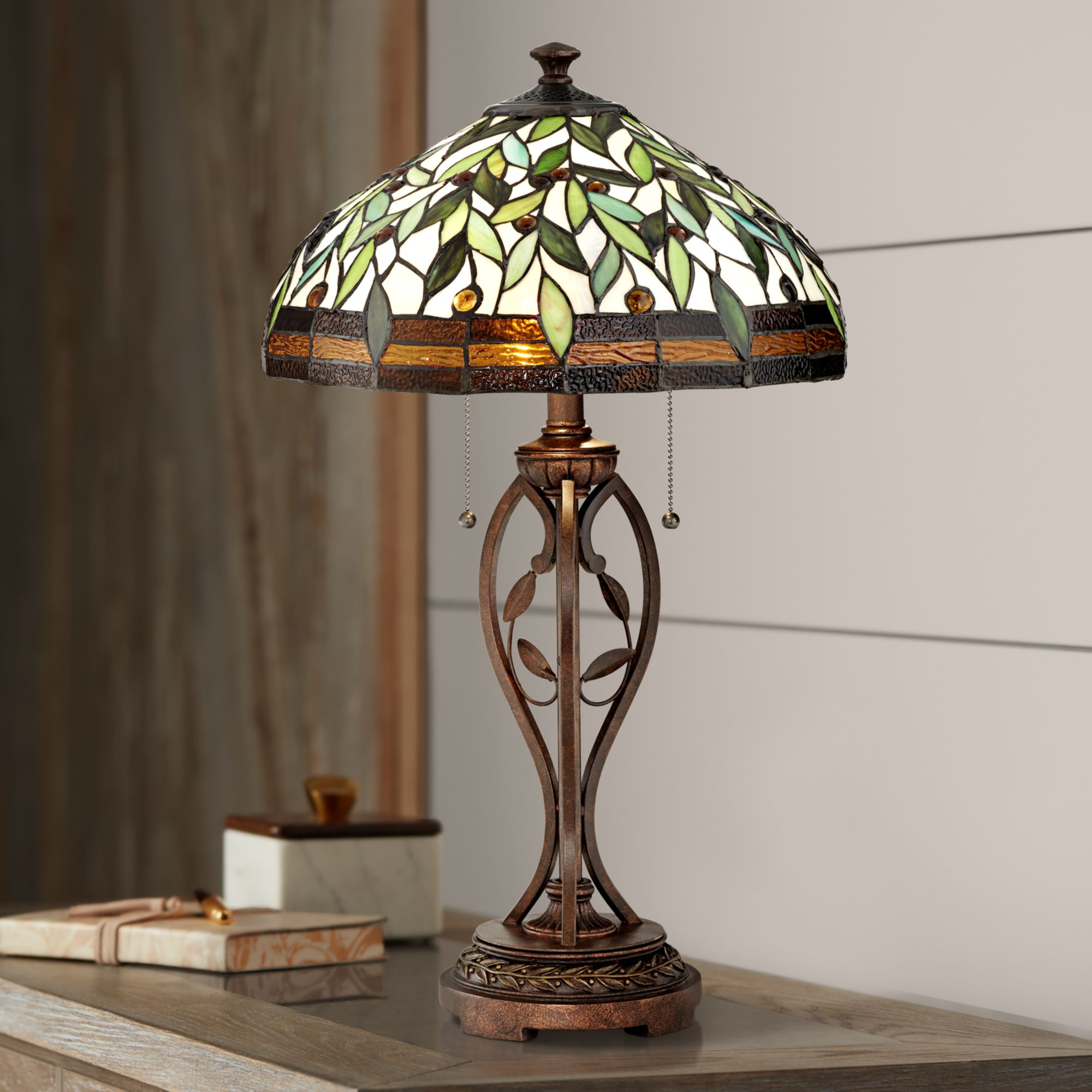Robert Louis Tiffany Traditional Table Lamp Bronze Leaf And Vine