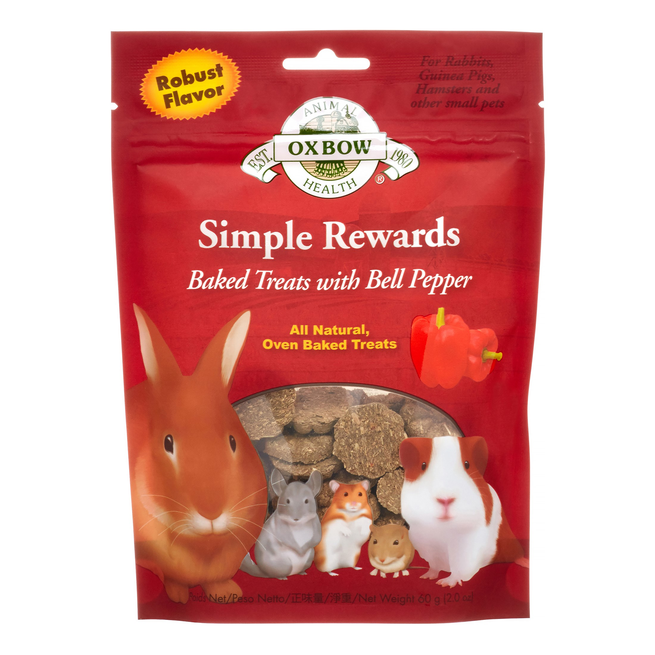 Oxbow Simple Rewards Baked with Bell Pepper Small Animal Treats, 2 Oz