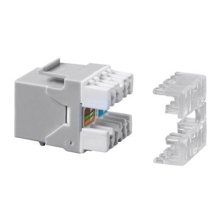 Monoprice Cat6 RJ45 180-Degree Punch Down Keystone Dual IDC, Gray - image 1 de 2