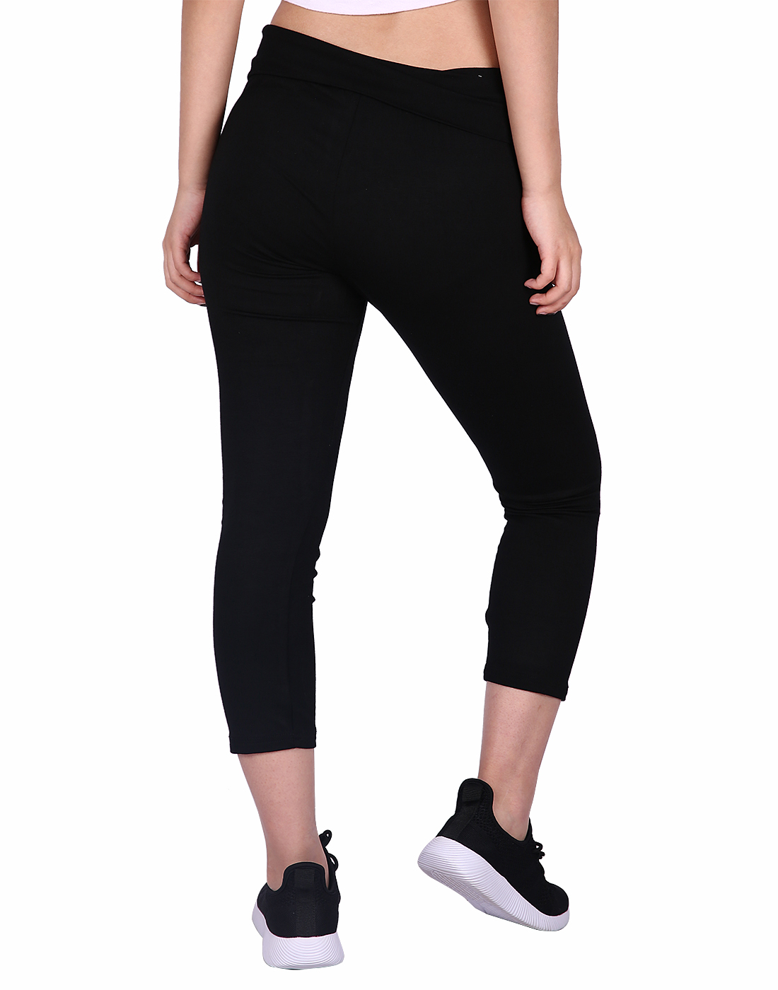 912ce95ad8 HDE Women's Yoga Capri Pants Color Block Fold Over Waist Workout Leggings ( Black w/Charcoal, Small)