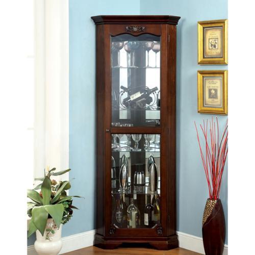 Furniture of America Jora Traditional Walnut Corner Curio Cabinet by Overstock