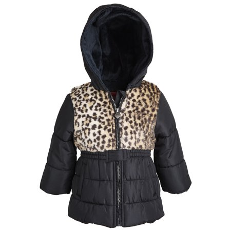 London Fog Little Girls Warm Winter Puffer Jacket with Silky Fleece Lined Hood ()